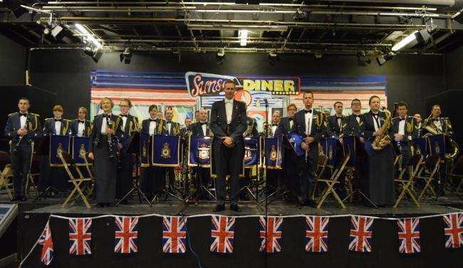 The Band of the Royal Air Force College on stage at a previous Otley Poppy Appeal concert. Photo by Jonathan Dale