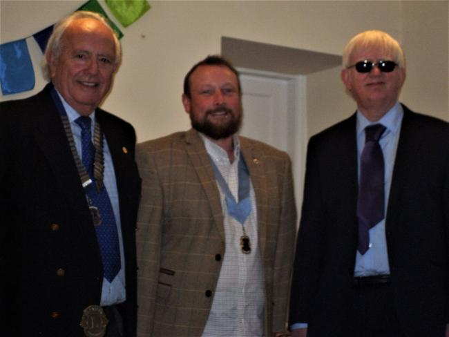 Otley Lions Club's new President David McDowell with Vice-President Richard Phillips and immediate past President Jonathan Kirkland