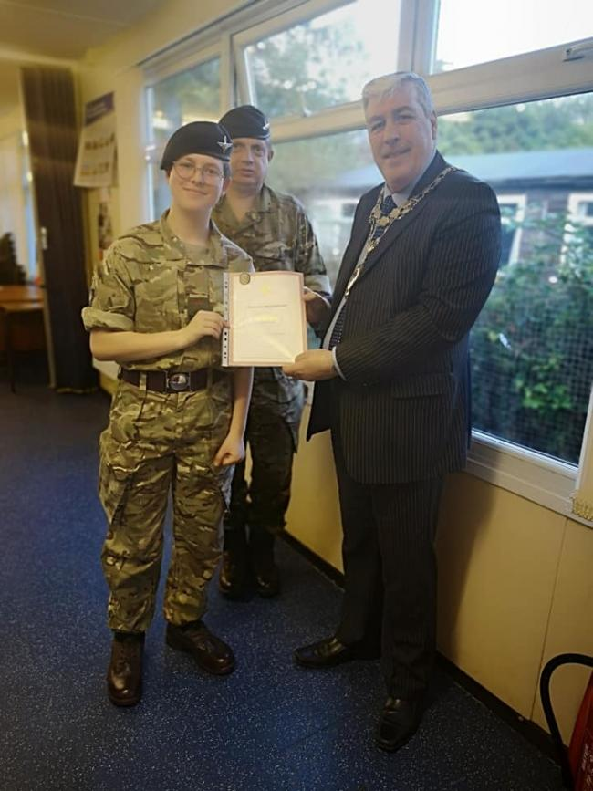 Otley Town Mayor Peter Jackson presenting awards to Otley Army Cadets