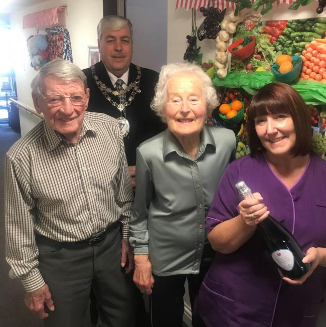Town Mayor Peter Jackson with residents and judges Ron Hannan and Margaret Kendall and winner Jayne Christie at Teal Beck House