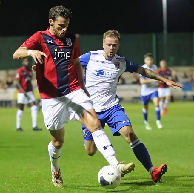 Lee Shaw, right, had the best chance for Guiseley in their 0-0 draw against York City on Tuesday Picture: Alex Daniel