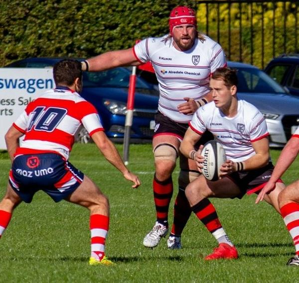 Steve Burns, centre, was back in the pack for Ilkley at Blackburn. Picture: ruggerpix.com
