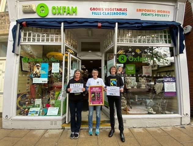 Ilkley Fairtrade Group members Sarah Saxton and Karen Palframan, centre Oxfam Shop deputy manager Sarah Haines