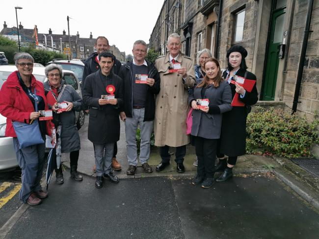 MP Hilary Benn (fourth from right) with MP Alex Sobel and Labour supporters in Otley