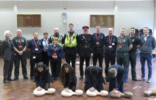 Restart a Heart Day at Prince Henry's Grammar School, with Vice Lord-Lieutenant of West Yorkshire Tim Hare (centre)