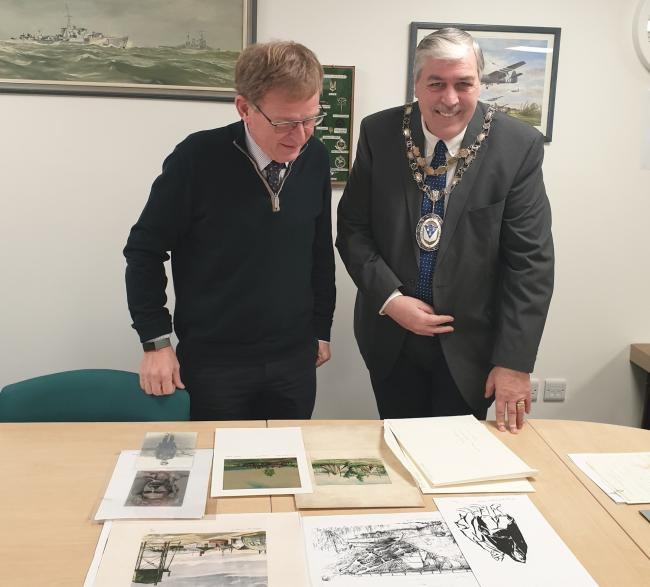 Otley Mayor Peter Jackson with archive Trustee Robert Fleming