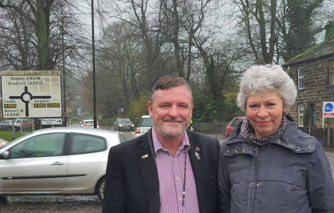 Councillors Sandy Lay and Linda Hoare on Bradford Road, Otley