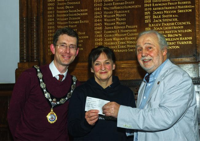 Ilkley Lord Mayor Mark Stidworthy, Karen Goodman (LS29) and Peter Mate (Rotary Club of Ilkley Wharfedale)