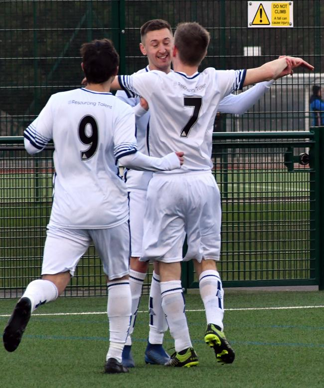 George Gomersall, centre, scored Ilkley Town's only goal against Hall Green. Picture: Richard Leach