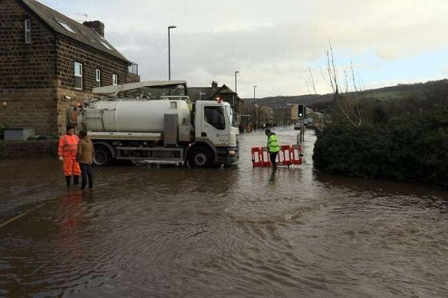 Closed due to flooding - Billams Hill at its junction with Farnley Lane, Otley. Photo John Chippindale