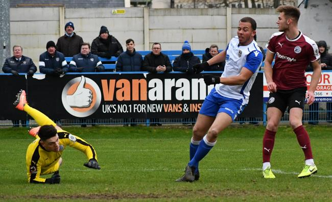 Aaron Martin scoring for Guiseley against Gateshead last month Picture: Richard Leach