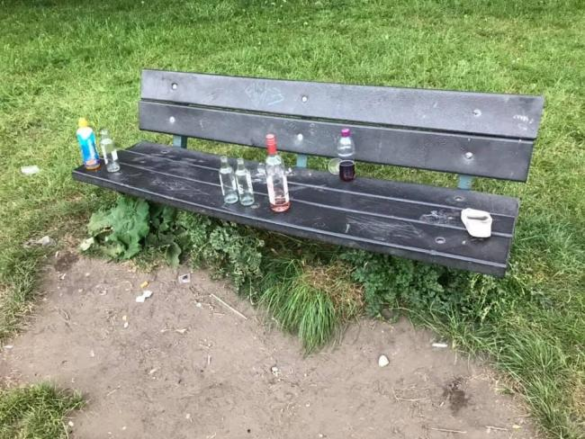 Litter left on a park bench in Ilkley this week