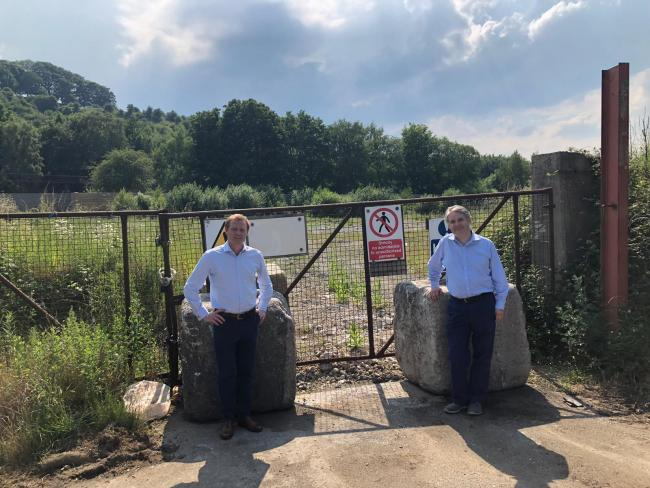 MPs Robbie Moore and Philip Davies at the site of the proposed incinerator