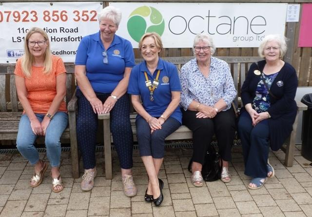 Pat was greeted at the finish by Aireborough Inner Wheel President Anne Parker and members Annella Cox, Sue Bartrum, Julie Hipkin and Lillian Gardner