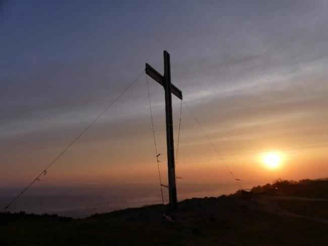 The Chevin Cross - one of the images from Steve Davey and Sharon Kenyon's fundraising calendar