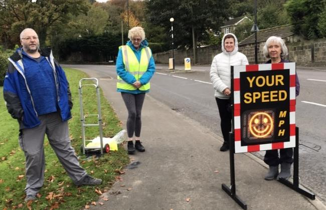 Residents carrying out a speed check in Pool-in-Wharfedale