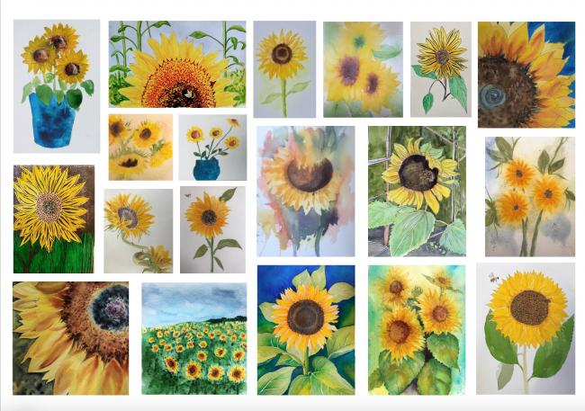 The sunflower montage produced by Chevin Watercolour Group