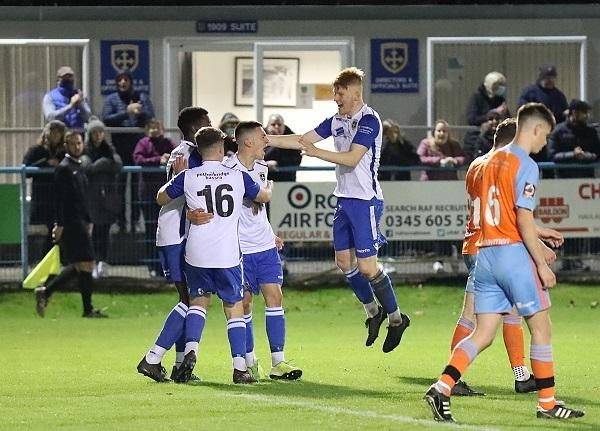 Guiseley's academy side celebrate a goal during their win over Halifax in the FA Youth Cup Third Qualifying Round Picture: Alex Daniel