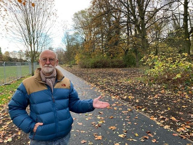 Councillor Colin Campbell admiring the upgraded path at Wharfemeadows Park