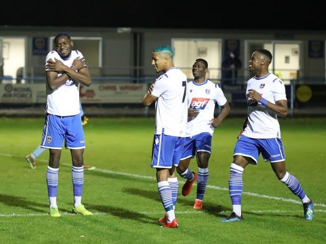 Lebrun Mbeka (left) has netted from the spot a couple of times this season, but he failed from 12 yards late on at Kettering last night Picture: Alex Daniel