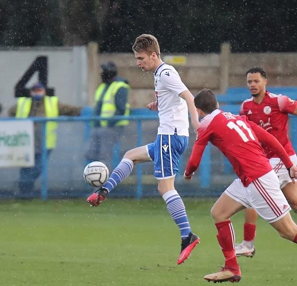 Mark Howarth in action for Guiseley against Brackley last month Picture: Alex Daniel
