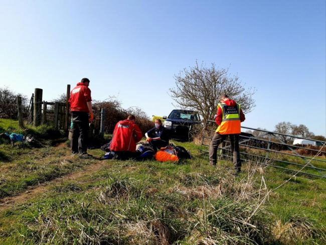 The team assists a fallen walker, picture UWFRA
