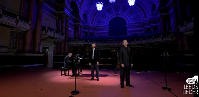 Pictured left to right at Leeds Town Hall: Julius Drake, Michael Mofidian and Gerald Finley. Image courtesy of Leeds Lieder