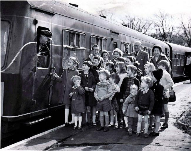 Children from Arthington School chatted with the driver before going for a ride on the last train to call at the old Arthington Station in 1965.