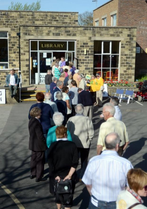 Wharfedale Observer: Menston residents queued to vote in a referendum on the planning applications last year