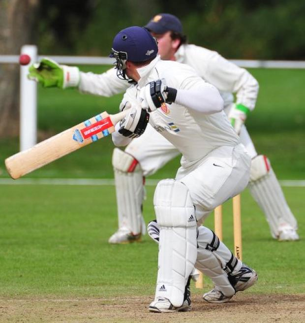Pool's Callum Braddock edges a catch to Steeton wicketkeeper Dominic Bennett