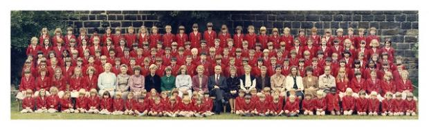 Staff and pupils at Froebelain School, Horsforth, in 1982.