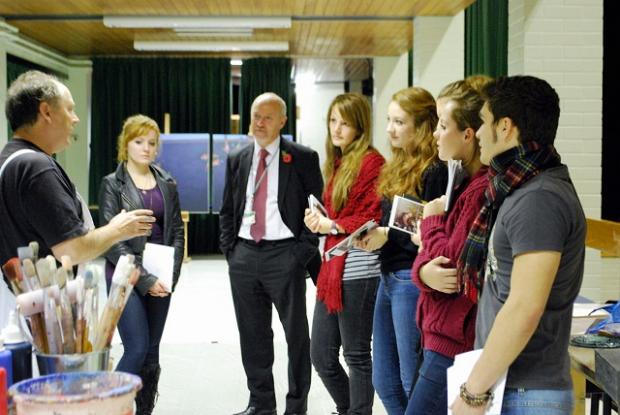 From left, artist Alan Flood with student Becky Hill, headteacher Steve Jex, and students Laura Goodrum, Rosanna Zicchieri, Laura Purcell and Daniele Palombo.