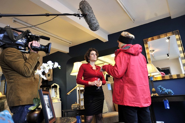 Alex Polizzi is pictured at the re-opening of Kettley's furniture store, Ivegate, Yeadon, which is featuring in a BBC documentary.