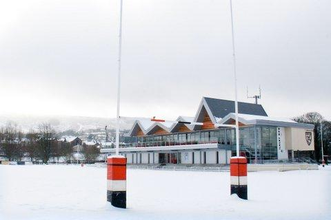 Wharfedale Observer: The scene at Ilkley Rugby Club after Saturday's snow. Picture: ruggerpix.com