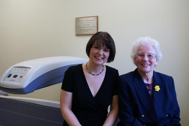Wharfedale Hospital's radiology team leader Louise Cartwright with Wendy Waters in front of the new scanner