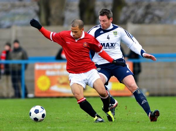 Ciaran Toner, right, had a good chance to put Guiseley 2-0 up at Nuneaton
