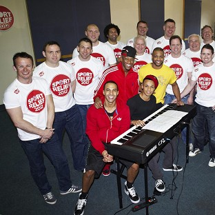 The Sport Relief Big Hitters with JLS during rehearsals before they perform at Twickenham