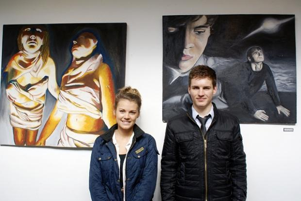 Prince Henry's Grammar School sixth form students Jade Firth and Joe Clulow show off their works at Otley Courthouse