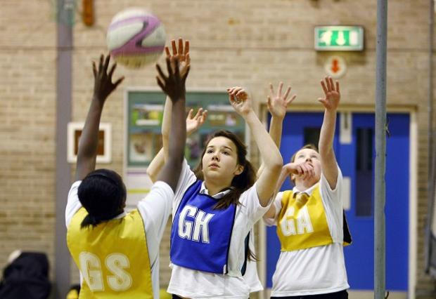 Wharfedale Observer: Netball players from St Mary's Catholic High School, Menston, which is to become a Youth Sport Trust Gold Partner School.