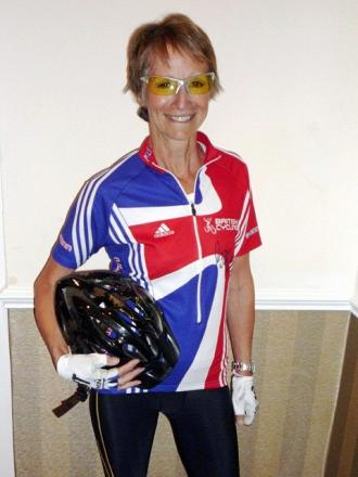 Barbara Bullock, of Ilkley, modelling the signed kit from Lizzie Armitstead