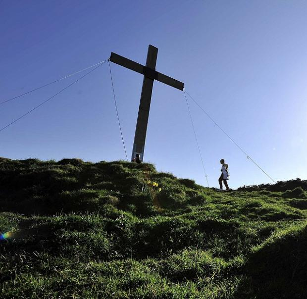 The huge cross, which has been put up on Otley Chevin each year since 1969 to mark Easter