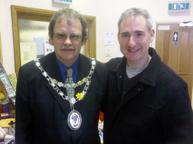 Otley town mayor Councillor Nigel Francis welcomes MP Greg Mulholland to his fundraising spring fair