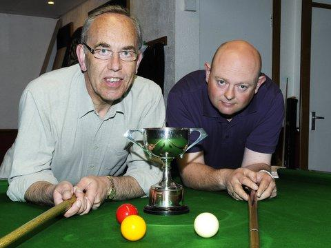 Miick Miles and Amdy Blamire before the billiards final. Picture: John Waite Photography