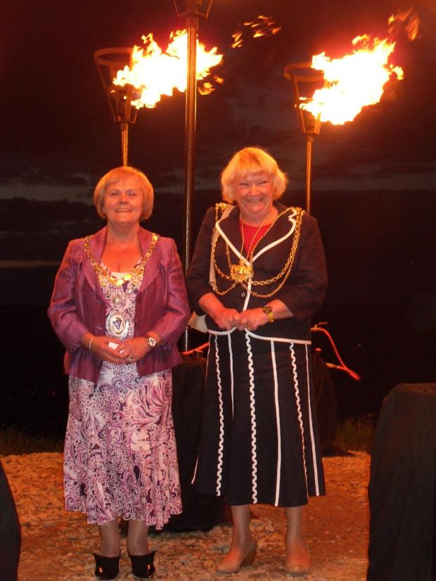 Otley Mayor Mary Vickers, left, and Leeds Mayor Ann Castle at the beacon-lighting