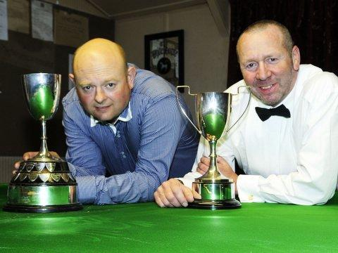 Snooker champion Andy Blamire, left, and  billiards champion John Waite.