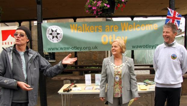 Stuart Fildes, who led this year's Six Dales Trail walk last Sunday for Otley Walking Festival, and town mayor Councillor Mary Vickers with Six Dales Trail booklet author and Walkers are Welcome Otley steering committee member John Sparshatt