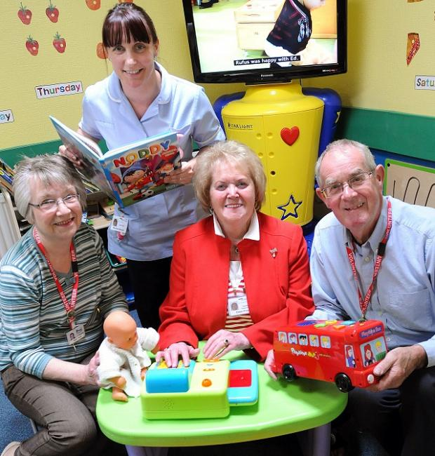 Nurse Michaela Beckett, of Airedale NHS Foundation Trust, with friends' secretary Mary Rush, chairman Eileen Proud and treasurer David Petyt in the new play area