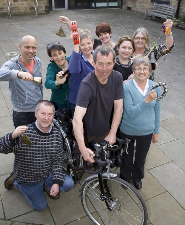 Otley Courthouse members get their bells at the ready to ring in the Olympics