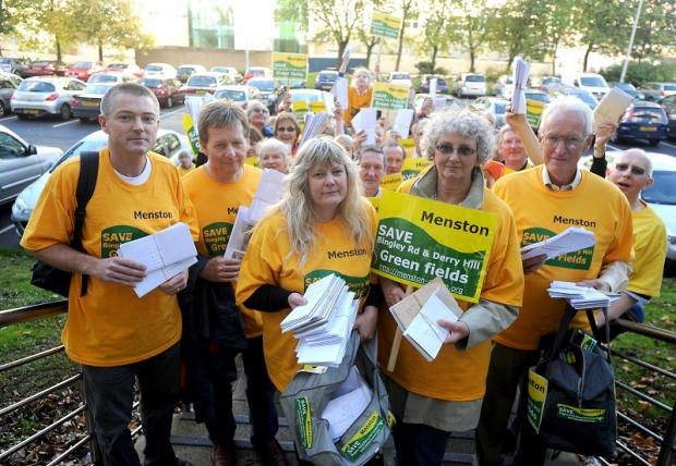 Members of Menston Action Group campaigning against development in the village
