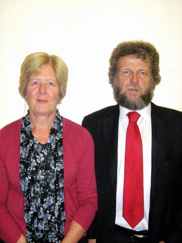 Retiring headteacher David Jakes with school secretary Gwen Smith, who is also retiring after 13 years